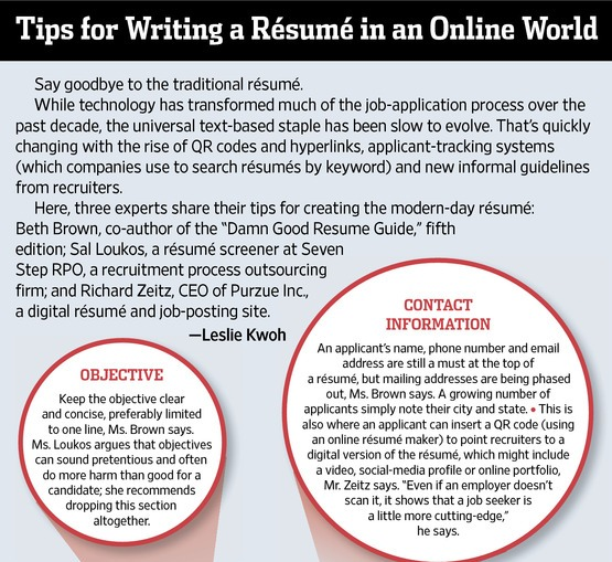 tip for writing a resume in an online world