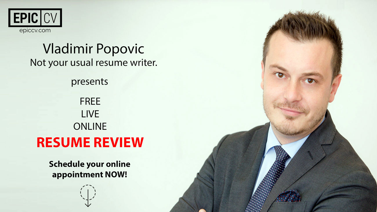 free live resume review with vladimir popovic from epic cv